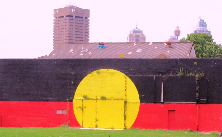The Aboriginal Flag at Eveleigh Street. Photo: Newtown Graffiti